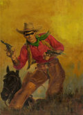 Pulp, Pulp-like, Digests, and Paperback Art, GEORGE ROZEN (American, 1895-1974). Masked Rider Westerncover, April 1949. Oil on board. 24 x 17.5 in.. Signed lowerle...