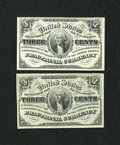 Fractional Currency:Third Issue, Fr. 1226 3c Third Issue Two Examples.. ... (Total: 2 notes)