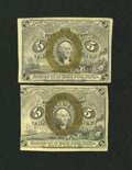 Fractional Currency:Second Issue, Two 5c Second Issue Notes.. ... (Total: 2 notes)