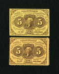 Fractional Currency:First Issue, Two 5c First Issue Notes.. ... (Total: 2 notes)