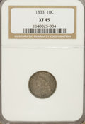 Bust Dimes: , 1833 10C XF45 NGC. NGC Census: (4/228). PCGS Population (37/179).Mintage: 485,000. Numismedia Wsl. Price for NGC/PCGS coin...
