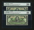 Canadian Currency: , BC-21c $1 1937. Two Examples. PMG Graded. ... (Total: 2 notes)