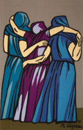 Post-War & Contemporary:Contemporary, RAÚL ANGUIANO (Mexican, 1915-2006). Untitled (ThreeFigures), 1976. Flat-Weave Wool Tapestry. 58 x 37-3/4 inches(147.3 ...