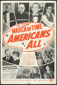 "The March of Time (20th Century Fox, 1944). One Sheet (27"" X 41"") ""Americans All"". Documentary Short..."