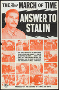 """Movie Posters:Documentary, The March of Time (20th Century Fox, 1948). One Sheet (27"""" X 41"""") """"Answer to Stalin"""". Documentary Short Subject.. ..."""