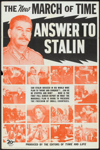 "The March of Time (20th Century Fox, 1948). One Sheet (27"" X 41"") ""Answer to Stalin"". Documentary Sh..."