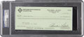 Autographs:Checks, 1993 Curt Flood Signed Check PSA/DNA Certified Authentic. ...