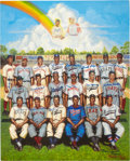 Baseball Collectibles:Others, Negro League Multi-Signed Art Prints Lot of 2. ... (Total: 2 items)