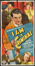 "Movie Posters:Crime, I Am a Criminal (Monogram, 1938). Three Sheet (41"" X 81""). Crime....."