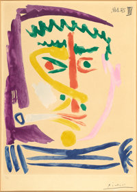 PABLO PICASSO (Spanish, 1881-1973) Fumeur, 1964 Aquatint in colors on paper 16-1/4 x 12 inches (4