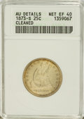 Seated Quarters: , 1873-S 25C Arrows--Cleaned--ANACS. AU Details Net XF40. NGC Census:(3/29). PCGS Population (7/24). Mintage: 156,000. Numis...