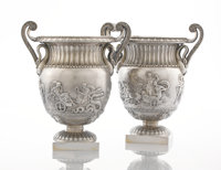 A PAIR OF ENGLISH SILVER WINE COOLERS Paul Storr, London, England, 1827-1828; 2nd of pair by John Samuel Hunt, Lon