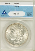 1893 $1 MS63 ANACS. NGC Census: (568/724). PCGS Population (1147/1333). Mintage: 389,792. Numismedia Wsl. Price for NGC/...
