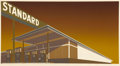 Fine Art - Work on Paper:Print, EDWARD RUSCHA (American, b. 1937). Mocha Standard, 1969.Screenprint in colors on paper. 19-1/2 x 36-3/4 inches (49.5 x ...