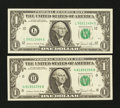 Error Notes:Miscellaneous Errors, Fr. 1912-H; L $1 1981A Federal Reserve Notes. ... (Total: 2 notes)