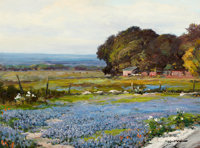 ROBERT WILLIAM WOOD (American, 1889-1979) Bluebonnet Time Oil on canvas 18 x 24 inches (45.7 x 61