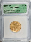 1999-W G$10 Quarter-Ounce Gold Eagle--Struck From Unfinished Proof Dies--MS69 ICG. NGC Census: (0/0). PCGS Population (6...