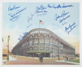 Autographs:Others, Brooklyn Dodgers Multi-Signed Ebbets Field Lithograph....