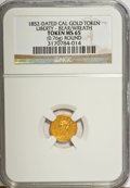 """California Gold Charms, """"1852"""" California Gold 1/2 Wreath Token, Round, Liberty, Bear MS65 NGC. 0.76 gm. . From The Mulkin Collection...."""