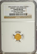"California Gold Charms, ""1854"" California Gold 1/4, Octagonal, Liberty, Bear MS66 NGC. 0.24 gm. . From The Mulkin Collection...."