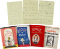 Books:Manuscripts, Kay Thompson. Eloise. Archive of early draft manuscripts and typescripts for Kay Thompson's celebrated children's ... (Total: 4 Items)