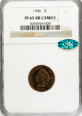 Proof Indian Cents, 1906 1C PR65 Red and Brown Cameo NGC. CAC. NGC Census: (0/2). PCGS Population (2/4). (#82407)...