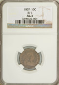 Early Dimes, 1807 10C AG3 NGC. JR-1. NGC Census: (9/200). PCGS Population(10/310). Mintage: 165,000. Numismedia Wsl. Price for problem ...
