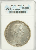 Coins of Hawaii: , 1883 $1 Hawaii Dollar--Cleaned--ANACS. AU50 Details. NGC Census:(21/150). PCGS Population (52/180). Mintage: 500,000. (#1...