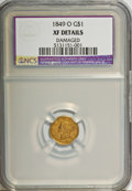 1849-O G$1 Open Wreath--Damaged--NCS. XF Details. NGC Census: (4/560). PCGS Population (7/246). Mintage: 215,000. (#7508...