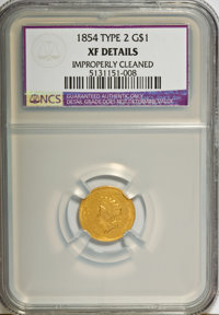 1854 G$1 Type Two--Improperly Cleaned--NCS. XF Details. NGC Census: (54/4860). PCGS Population (130/2983). Mintage: 783...