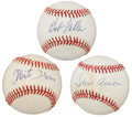 Autographs:Baseballs, Baseball Hall Of Famers Single Signed Baseballs Lot Of 3....
