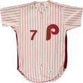 Baseball Collectibles:Uniforms, 1981 Bobby Wine Philadelphia Phillies Game Worn Jersey. ...