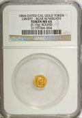 "California Gold Charms, ""1854"" California Gold 1/4, Round, Liberty, Bear MS65 NGC. 0.19g. . From The Mulkin Collection...."