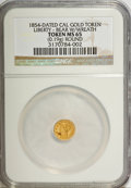 """California Gold Charms, """"1854"""" California Gold 1/4 Round, Liberty, Bear MS65 NGC. 0.19 gm. . From The Mulkin Collection...."""