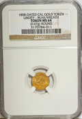 """California Gold Charms, """"1858"""" California Gold 1/2, Round, Liberty, Bear MS64 NGC. 0.67 gm.. From The Mulkin Collection...."""