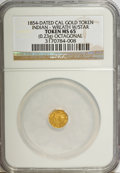 """California Gold Charms, """"1854"""" California Gold, Octagonal, Indian, Wreath, Star MS65 NGC. 0.23 gm. . From The Mulkin Collection...."""