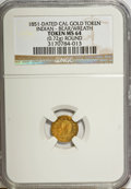 """California Gold Charms, """"1851"""" California Gold 1/2, Round, Indian, Bear MS64 NGC. 0.72 gm. . From The Mulkin Collection...."""