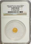 """California Gold Charms, """"1854"""" California Gold 1/4, Round, Liberty, Bear, Wreath MS65 NGC. 0.20 gm. . From The Mulkin Collection...."""