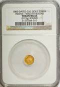 """California Gold Charms, """"1860"""" California Gold, Round, Indian, Wreath, Star MS65 NGC. 0.23 gm. . From The Mulkin Collection...."""