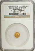 "California Gold Charms, ""1854"" California Gold, Octagonal, Indian, Wreath, Star MS65 NGC. 0.22 gm. . From The Mulkin Collection...."