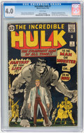 Silver Age (1956-1969):Superhero, The Incredible Hulk #1 (Marvel, 1962) CGC VG 4.0 White pages....
