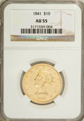 Liberty Eagles: , 1841 $10 AU55 NGC. NGC Census: (28/27). PCGS Population (11/12).Mintage: 63,131. Numismedia Wsl. Price for NGC/PCGS coin i...
