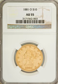Liberty Eagles: , 1881-O $10 AU55 NGC. NGC Census: (27/45). PCGS Population (7/6).Mintage: 8,350. Numismedia Wsl. Price for NGC/PCGS coin in...