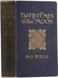 Books:First Editions, H. G. Wells. The First Men in the Moon. London: GeorgeNewnes, Limited, 1901.. First edition, first issue bind...