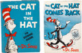 Books:Children's Books, Dr. Seuss. Two classics from Dr. Seuss: The Cat in the Hat -First edition in the first issue dust jacket, and ... (Total: 2Items)