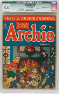 "Archie Comics #6 Davis Crippen (""D"" Copy) pedigree (Archie, 1943) CGC Qualified VF 8.0 Off-white pages"