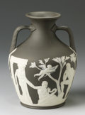 Ceramics & Porcelain, British:Antique  (Pre 1900), AN ENGLISH BLACK JASPER DIP PORTLAND VASE. Wedgwood, Late 19th Century. Marks: impressed WEDGWOOD. 9-7/8 inches (25.0 cm...