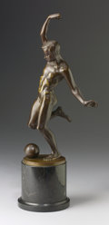 Fine Art - Sculpture, European:Antique (Pre 1900), MARTIN GÖTZE (German, 1865). Nude Playing Football. Bronzewith patina. 15-1/2 inches (39.4 cm) high. Inscribed on base:...