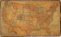 Books:Non-fiction, Jigsaw Puzzle of US Map from 1895. 20.5 x 12.5 inches. Somechipping and wear to original box. Has Oklahoma in two parts, Ok...