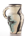 Ceramics & Porcelain, PABLO PICASSO (Spanish, 1881-1973). La Source Terre. Pitcher, 1954. Ceramic, partially glazed and painted black, white, ...